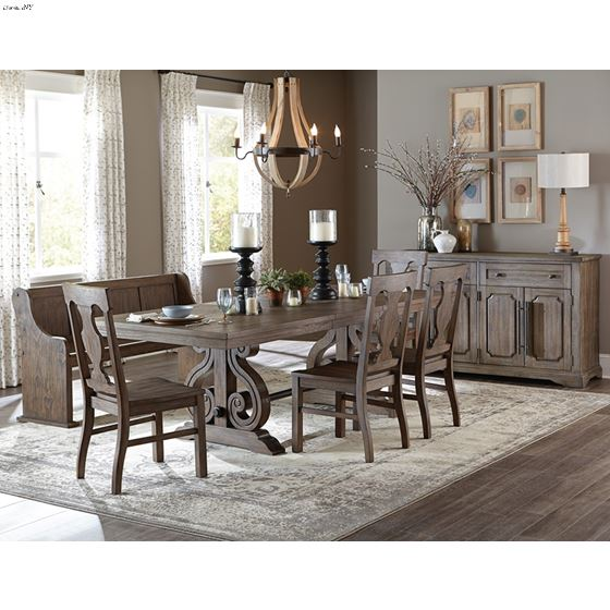 Toulon Dark Oak Distressed Dining 62 inch Bench 5438-14A in Set