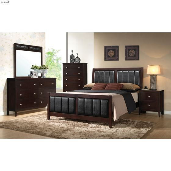 Carlton King Cappuccino Upholstered Bed 202091KE-2