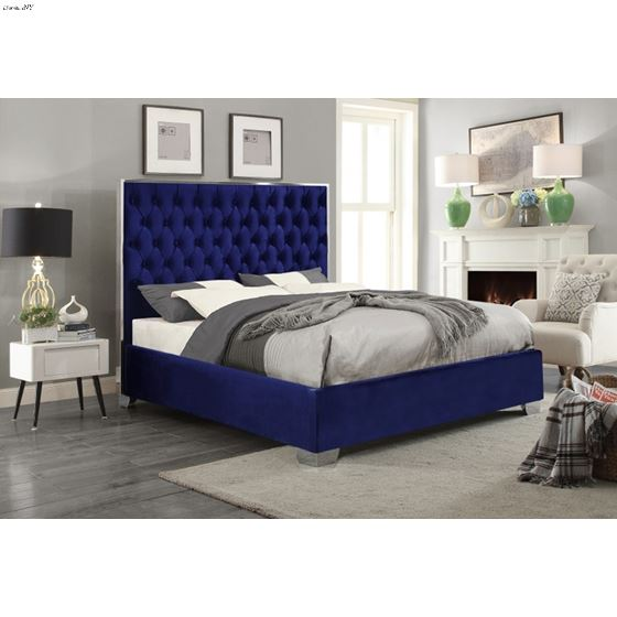 Lexi Navy Velvet Upholstered Tufted Platform Bed