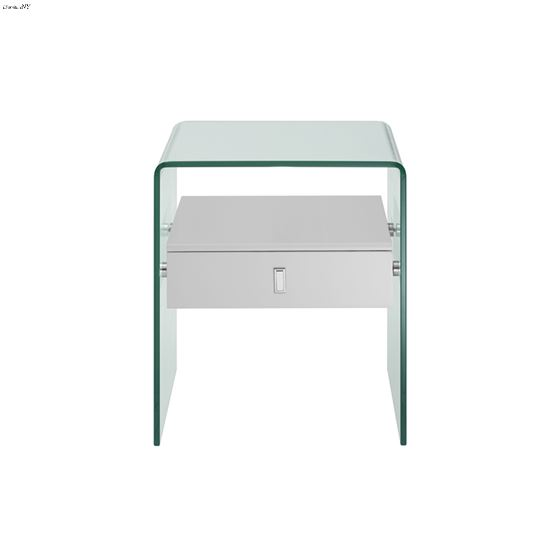 Bari White Lacquer Nightstand/End Table - 2