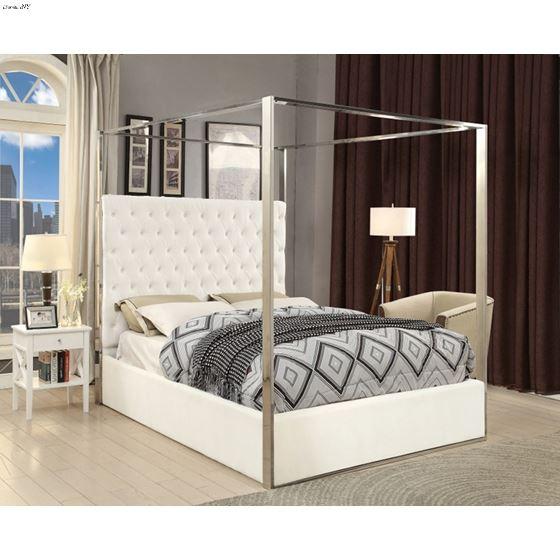 Porter White Velvet Upholstered Tufted Canopy Bed