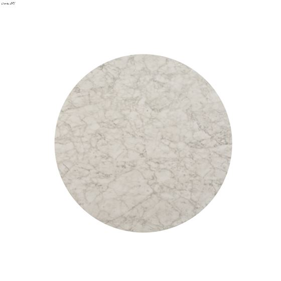 Brassica 34 inch Round White Faux Marble and Sil-4
