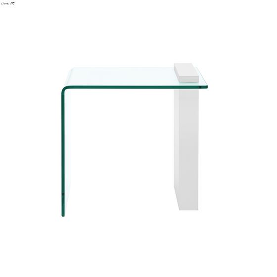 Buono High Gloss White/ Clear End Table - 2