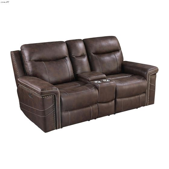 Wixom Brown Power Reclining Loveseat With Power-2
