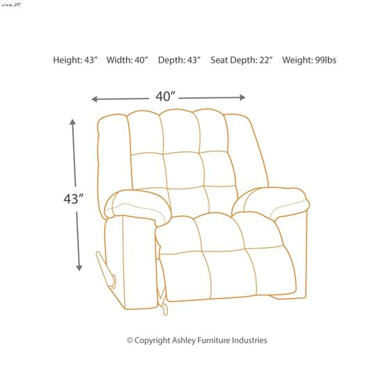 8110498 Ludden Power Recliner Dimensions
