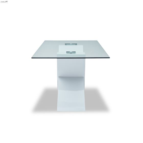 Modern 989 White Base Glass Top Dining Table front