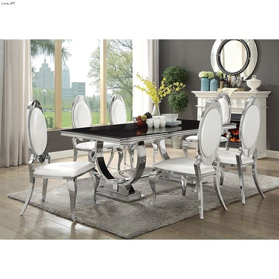 Antoine Chrome and Black Glass Dining Table 107871 by Coaster in room
