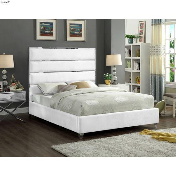 Zuma White Velvet Upholstered Platform Bed