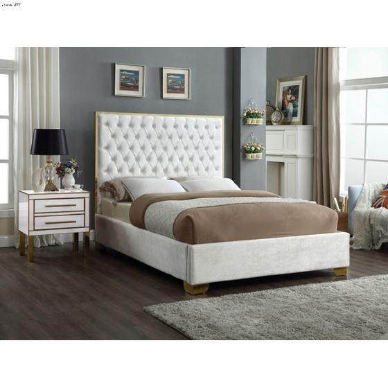 Lana White Velvet Upholstered Tufted Platform Bed