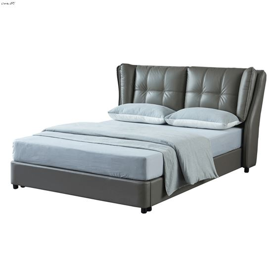 Modern 1806 Grey Leather Upholstered Storage Bed by ESF Furniture
