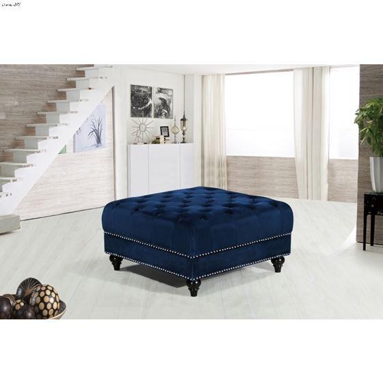 Sabrina Navy Velvet Upholstered Tufted Ottoman-2