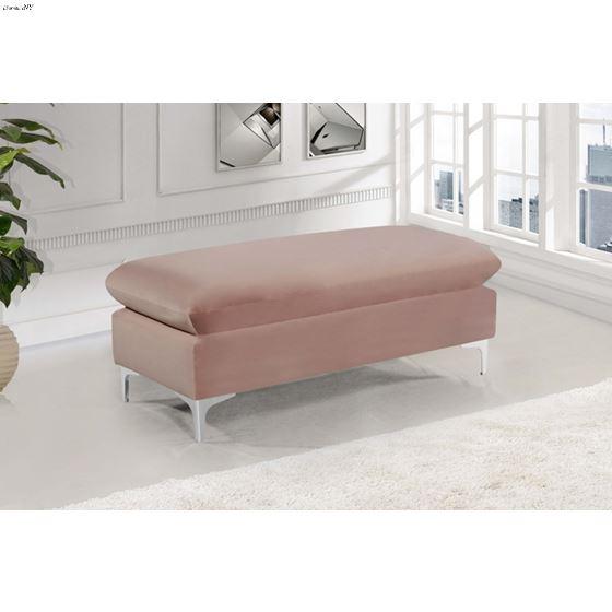 Naomi Pink Velvet Ottoman Bench
