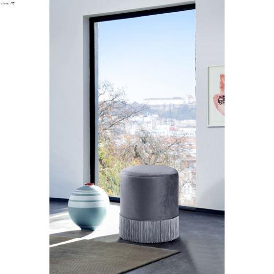 Teddy Grey Velvet Upholstered Ottoman/Stool - 2