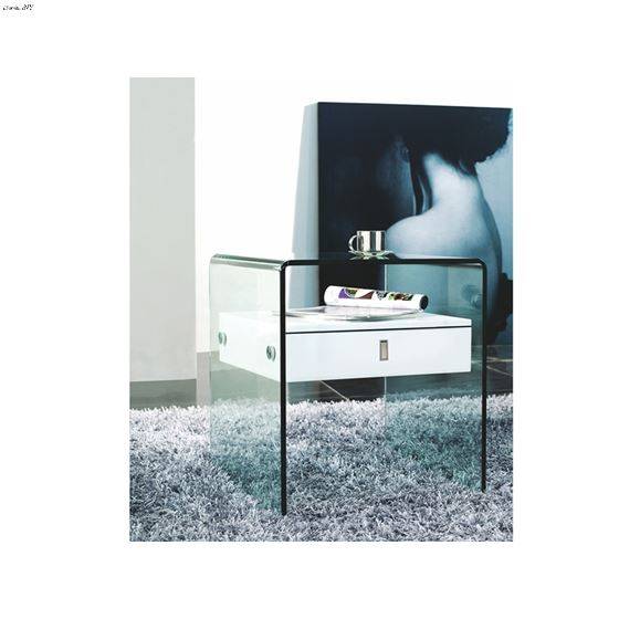 Bari White Lacquer Nightstand/End Table - 4