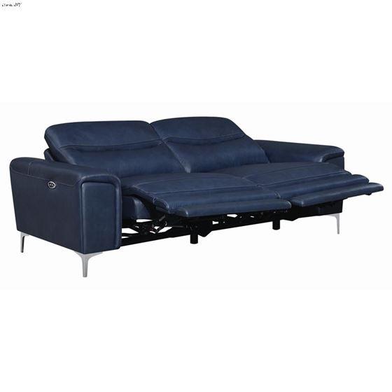 Largo Ink Blue Leather Power Reclining Sofa 6033-2