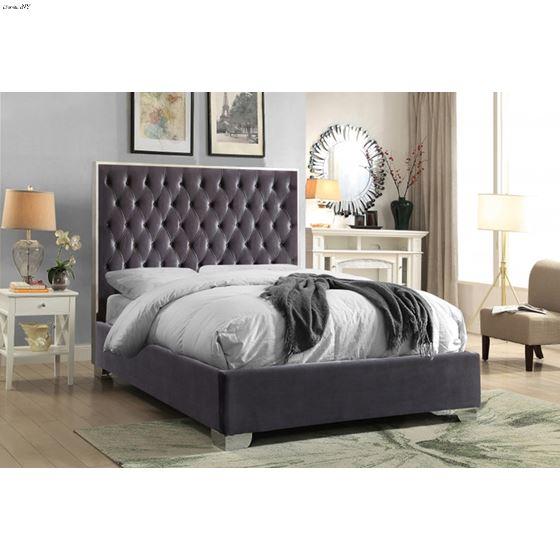 Lexi Grey Velvet Upholstered Tufted Platform Bed
