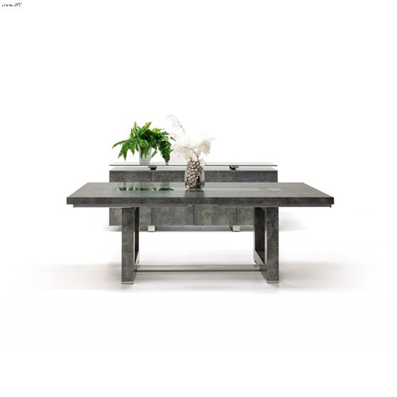 Novo Double Pedestal Matte Concrete Dining Table Closed