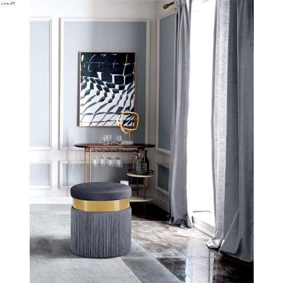Yasmine Grey Velvet Tasseled Ottoman/Stool