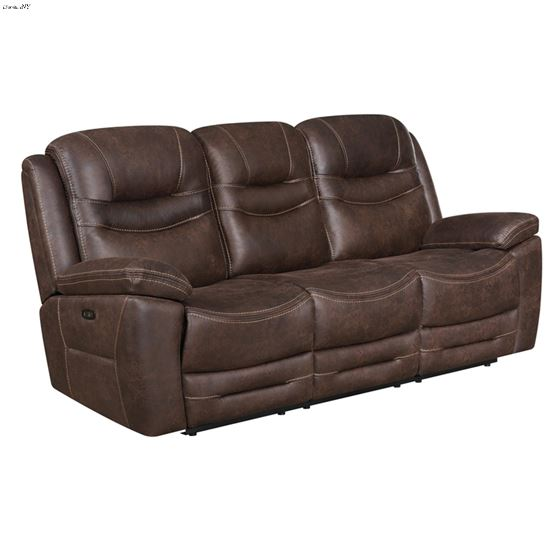 Hemer Chocolate Power Recliner Sofa with Power H-2