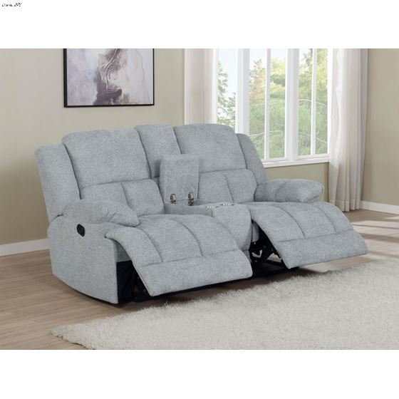 Waterbury Grey Reclining Loveseat with Console 6-2